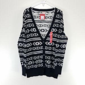 MOSSIMO Cardigan Sweater Button Up Black White XXL